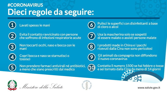 10 regole da seguire Covid-19
